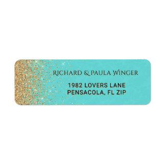 Chic Gold Glitter Sparkle Glam Tiffany Blue Return Address Label