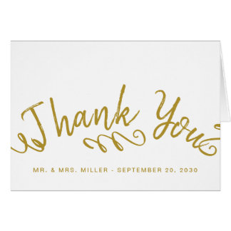Chic Gold Hand Lettered Photo Wedding Thank You Card