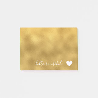 Chic Gold Hello Beautiful Heart Post-it Notes