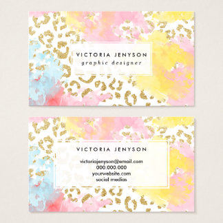 chic gold leopard pattern watercolor business card
