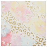 Chic gold leopard pattern watercolor brushstrokes fabric