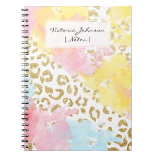 Chic gold leopard pattern watercolor brushstrokes notebooks
