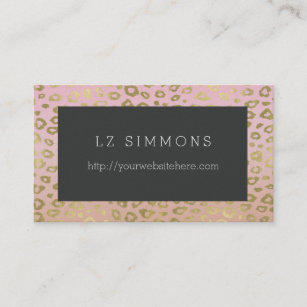 Leopard print business cards profile cards zazzle ca chic gold leopard print business card reheart Image collections