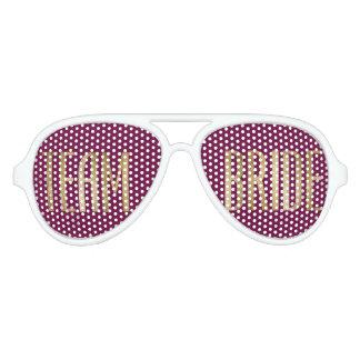 Chic Gold Marsala Red Bride Sunglasses
