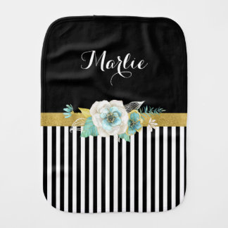 Chic Gold Mint Flowers With Black Stripes and Name Burp Cloth