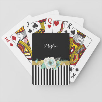 Chic Gold Mint Flowers With Black Stripes and Name Playing Cards