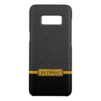 Chic Gold Name and Black Greek Key Pattern Case-Mate Samsung Galaxy S8 Case