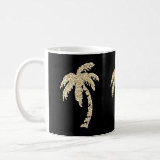 Chic Gold Palm Trees Black/White Coffee Tea Mug