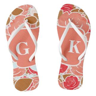 Chic Gold & Peach Watercolor Rose Floral Monogram Flip Flops