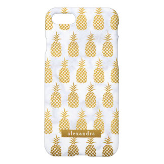 Chic Gold Pineapples on White Marble iPhone 8/7 Case