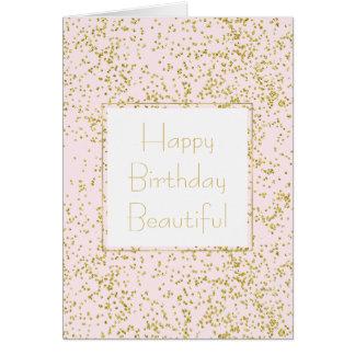 Chic Gold Pink Blush Confetti Sparkle Birthday Card