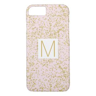 Chic Gold Pink Blush Confetti Sparkle Monogram iPhone 7 Case
