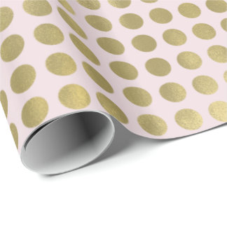 Chic Gold Pink Dots Wrapping Paper