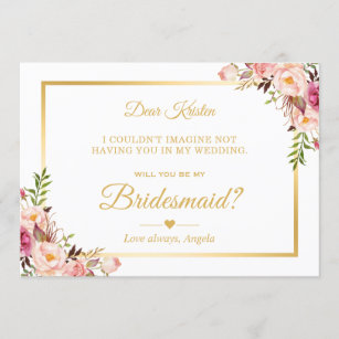 Bridesmaid Proposal Floral MIRABELLE in MAUVE Wedding Cards Bridal Cards Bridesmaid Gift Personalized Bridesmaid Cards