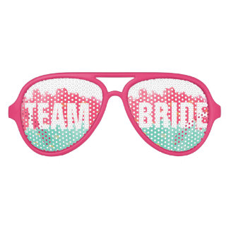 Chic Gold Pink Stripes Cute Team Bride Sunglasses