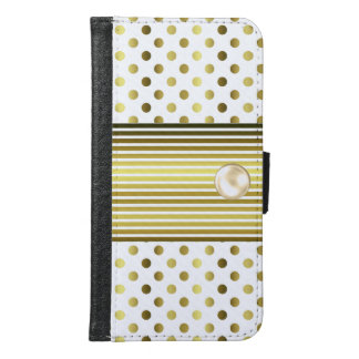 Chic Gold Polka Dot Samsung Galaxy S6 Wallet Case