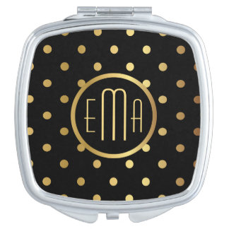 Chic Gold Polka Dots on Black with Any Monogram Makeup Mirrors