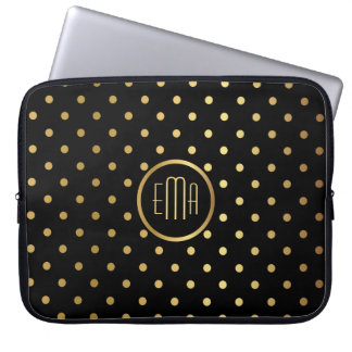 Chic Gold Polka Dots on Black with Monogram Laptop Sleeve