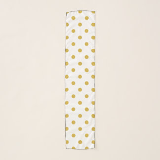 Chic Gold Polka Dots on White Scarf