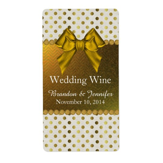 Chic Gold Polka Dots Wedding Mini Wine Labels