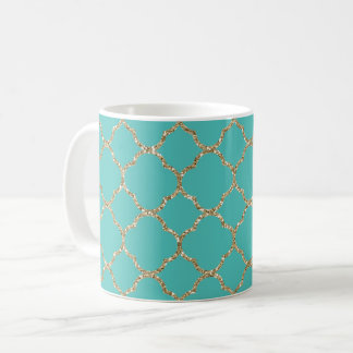 Chic Gold Quatrefoil Teal White Coffee Mug