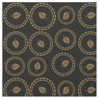 Chic Gold Rings Leaf Pattern Black Fabric