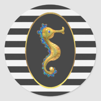 Chic Gold Seahorse Black White Stripes Classic Round Sticker