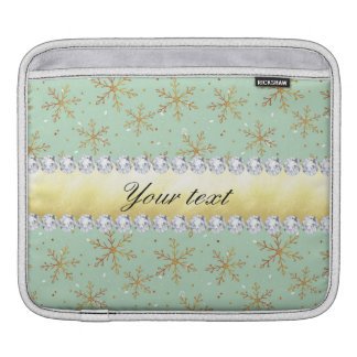 Chic Gold Snowflakes and Diamonds Pale Green iPad Sleeve