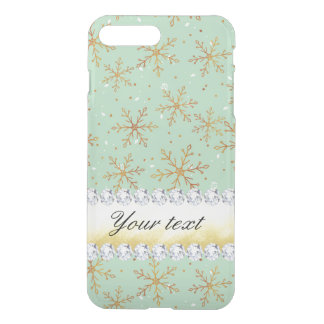 Chic Gold Snowflakes and Diamonds Pale Green iPhone 7 Plus Case