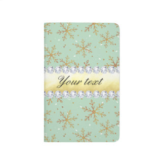 Chic Gold Snowflakes and Diamonds Pale Green Journal