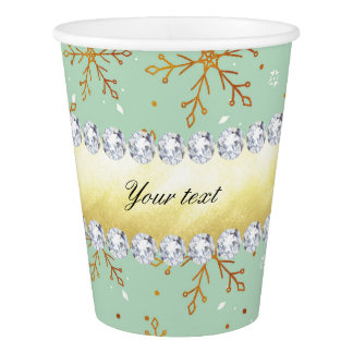 Chic Gold Snowflakes and Diamonds Pale Green Paper Cup