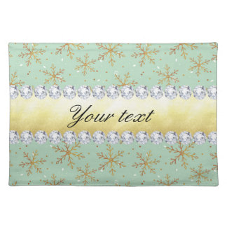 Chic Gold Snowflakes and Diamonds Pale Green Placemat