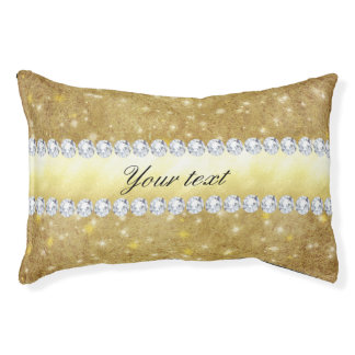 Chic Gold Sparkling Stars and Diamonds Pet Bed