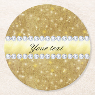Chic Gold Sparkling Stars and Diamonds Round Paper Coaster