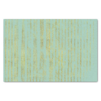 Chic Gold Stripes on Mint Tissue Paper