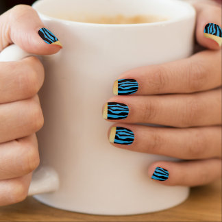 Chic Gold Tipped Blue Zebra Print Nails Minx Nail Art