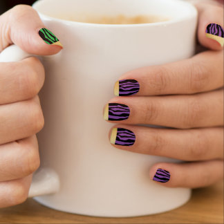 Chic Gold Tipped Green & Purple Zebra Print Nails Minx Nail Art