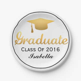 Chic Gold Trendy Graduation Party Class of 2017 Paper Plate