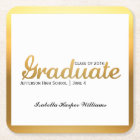 Chic Gold Trendy Graduation Party Class of 2018 Square Paper Coaster