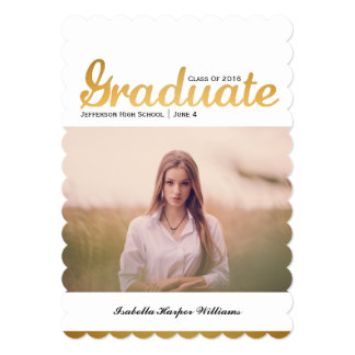 Chic Gold Trendy Graduation Photo Class of 2017 Card