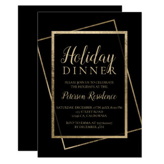 Chic gold typography elegant holiday dinner card