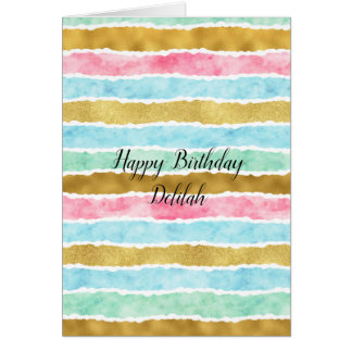 Chic Gold Watercolor Stripes Birthday Card