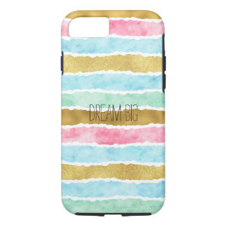 Chic Gold Watercolor Stripes Dream iPhone 8/7 Case