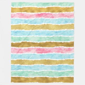 Chic Gold Watercolor Stripes Fleece Blanket