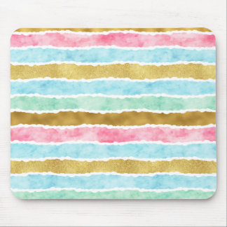 Chic Gold Watercolor Stripes Mouse Pad