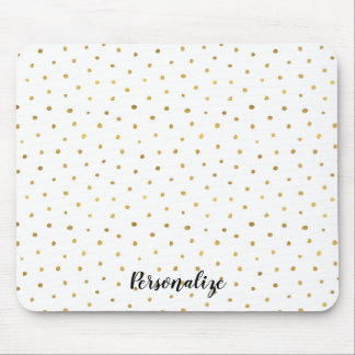 Chic Gold White Dots Mouse Pad