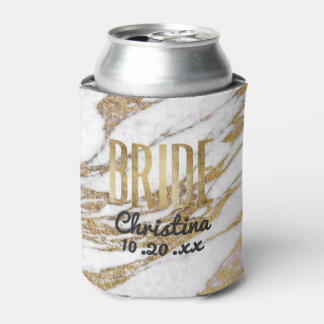 Chic Gold White Marble Bride Bachelorette Party Can Cooler