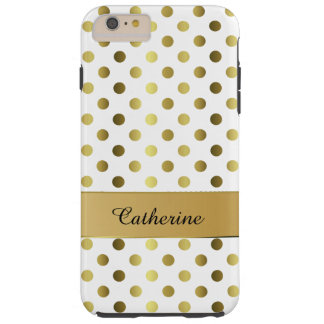 Chic Gold & White Polka Dot iPhone 6 Plus case