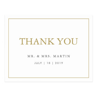 Chic Gold & White Wedding Thank You Postcard