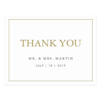 Chic Gold & White Wedding Thank You Postcard